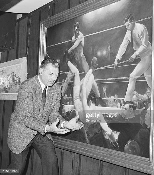 3/11/1965New York NYFormer heavyweight champion Jack Dempsey catches himself falling through the ropes at the hands of Luis Firpo as he relives the...