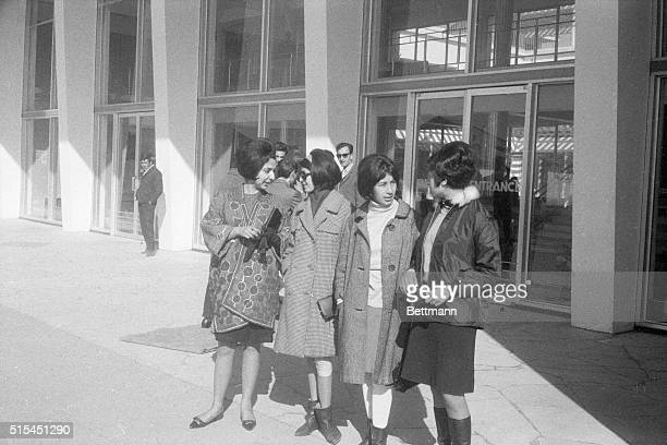 3/11/1967Kabul Afghanistan Youthful girls dressed in western fashion seen outside the Kabul Airport present a vivid change from the old tradition