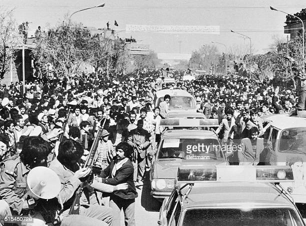 Qom, Iran- Shiite religious leader Ayatollah Khomeini arrives in the city of Qom, after 15 years and one day of exile, under heavy security...
