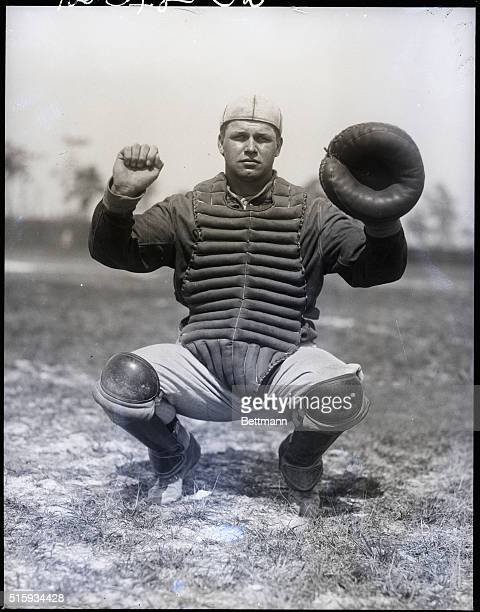3/12/1927Fort Meyers FL Jimmy Foxx catcher of the Philadelphia Athletics in a squatting catcher's position He is in Florida at spring training