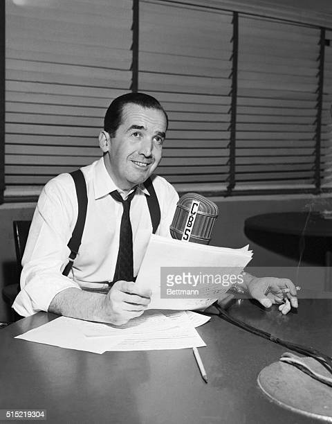 3/12/1954New York NYCommentator and CBS Board Member Edward R Murrow shown at his microphone said on his March 12th broadcast that he would leave it...