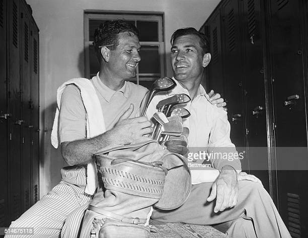 3/12/46Miami Florida Jimmy Demaret and Ben Hogan winners of the International Four Ball matches at Miami wear their victory smiles in the dressing...