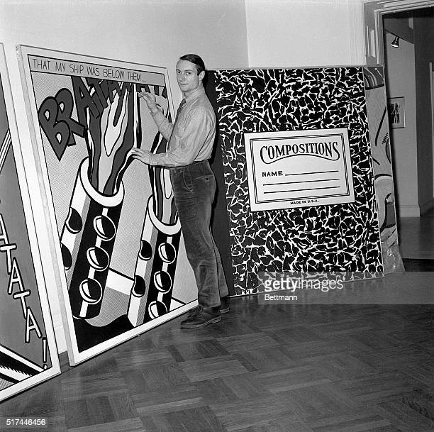 3/13/1964New York NY Artist Roy Lichtenstein is shown with a pencil in his hand as if he is drawing on one of his famous comicbook inspired art works...