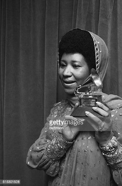 3/14/1972New York NYPortrait of Aretha 'Lady Soul' Franklin holding her Grammy for 'Best Rhythm and Blues Female Perfomer' at Madison Square Garden...