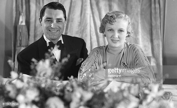3/16/1934Los Angeles CaliforniaCary Grant and his recent bride Virginia Cherill pictured as they attended the dinner given by the academy of Motion...
