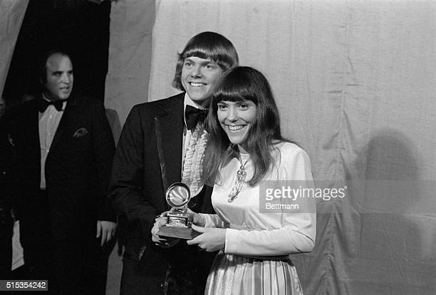 3/16/1971Hollywood CA The Carpenters Richard and Karen pose with their Grammy Award for Best Contemporary duo and Best New Artist of the Year