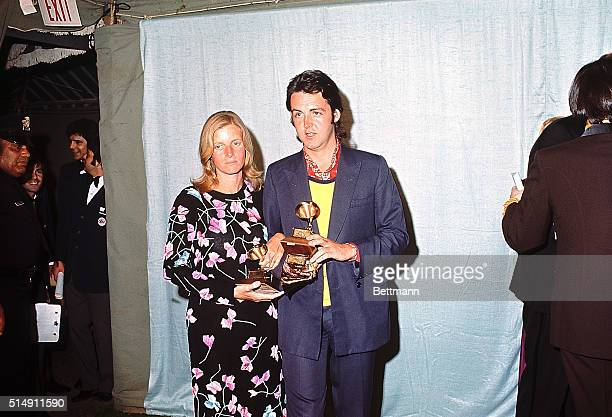 3/16/1971Hollywood California Paul McCartney of The Beatles and his wife Linda appear at Grammy Awards ceremony here March 16th McCartney accepted...