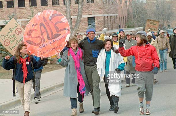 3/16/88Boulder Colorado University of Colorado Boulder Campus students stage a 'diein' 3/16 in Boulder to protest the University's holding in South...