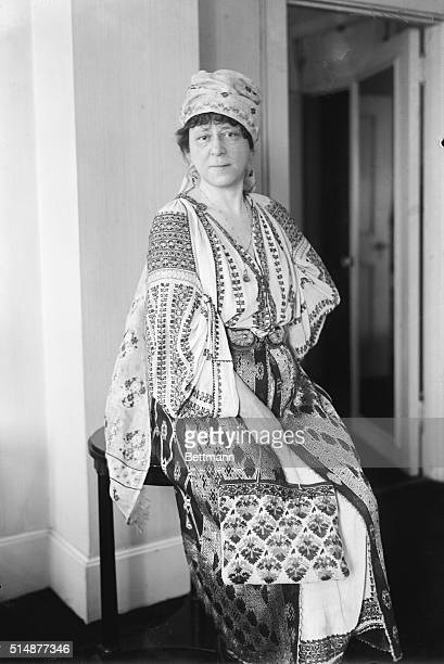 New York, NY: Mrs. Frank Mebane of Spray, NC, photographed in New Yorkwhile wearing the Rumanian costume presented to her by Queen Marie of Rumania...