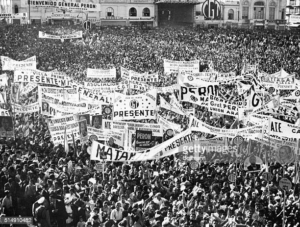 3/17/1954Buenos Aires ArgentinaA tightlypacked crowd was on hand to hear President Peron's speech as he started his party's campaign for the coming...