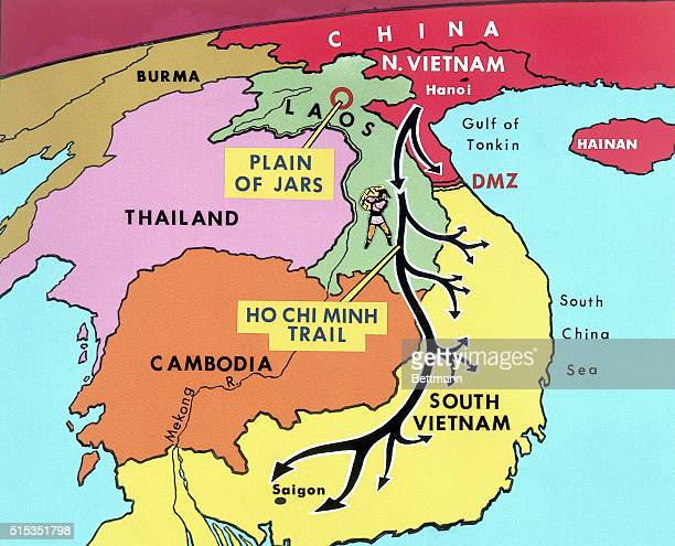 Like a serpent the Ho Chi Minh Trail winds through the neighboring nations of Laos Cambodia and South Vietnam from Northern Vietnam