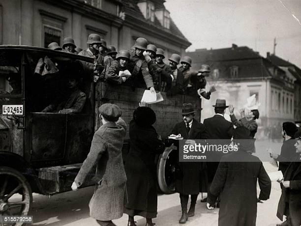 3/1920Berlin Germany Loyal German Government troops in Berlin shown distributing antiCommunist pamphlets Photograph March 1920