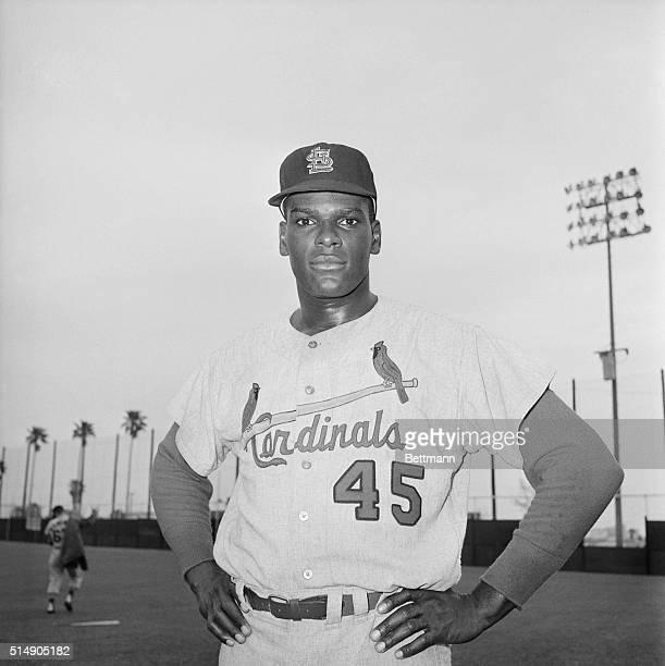 Bob Gibson pitcher for the St. Louis Cardinals. Waist up photograph.
