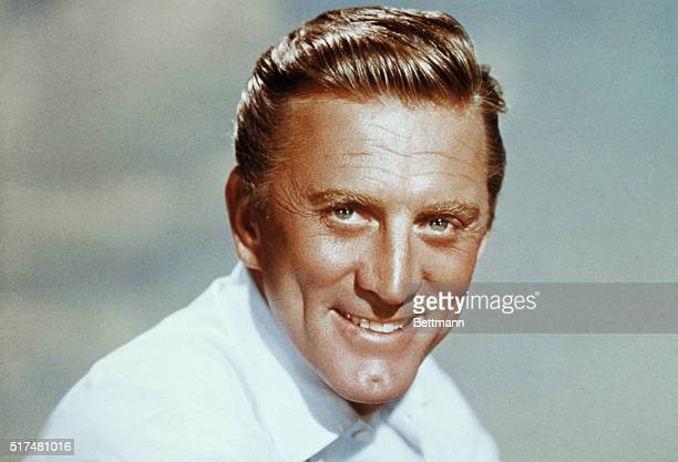 Actor Kirk Douglas, alone in headshoulders photograph.