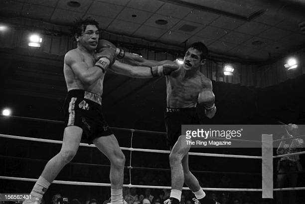 Alexis Arguello connects a right hook to Ray Mancini during the fight at Ballys Park Place Hotel Casino on October 3 1981 in Atlantic City New Jersey...