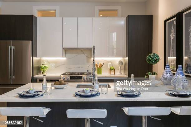Kitchen in Unit 208 of the historically renovated building at 1745 N Condominiums on October 31 2018 in Washington DC