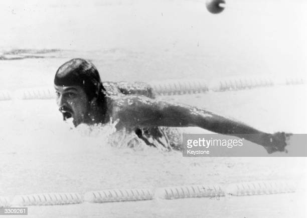 Mark Spitz the American world champion swimmer at the Munich Olympics breaking the record in a time of 2mins 07 secs in the 200m Men's Butterfly Event