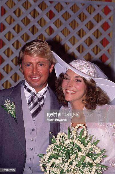 American pop singer Karen Carpenter and her husband industrialist Thomas Burris just after their wedding in Beverly Hills California