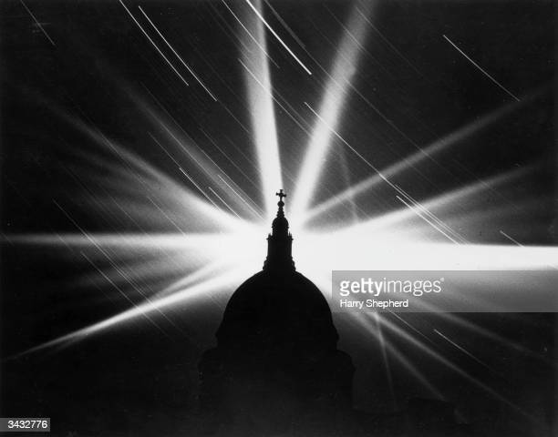 Searchlights over St Paul's Cathedral during The Blitz
