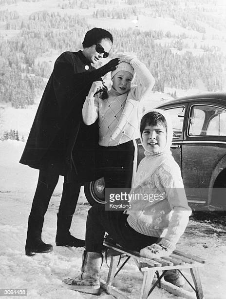 Princess Grace of Monaco on holiday with her children Prince Albert and Princess Caroline at the Swiss resort of Schoenried