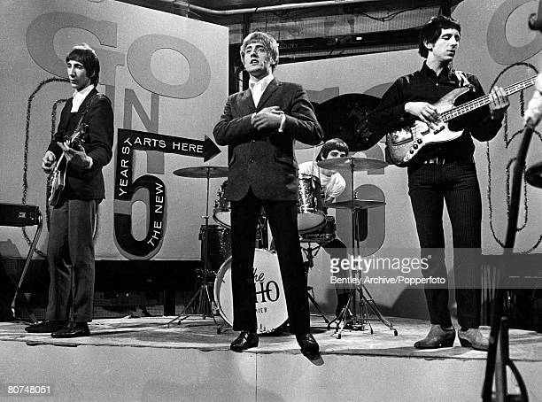 31st December 1965, 'The Who' appear on the set of the television programme 'Ready Steady Go' for a special new year edition, Musicians and...
