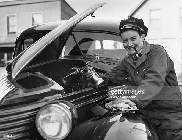Dorothy Pounds of Spring Valley near New York at work as a mechanic in a local garage