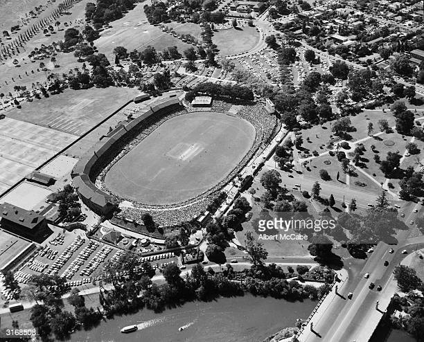 An aerial view of the Adelaide Oval cricket ground in Australia