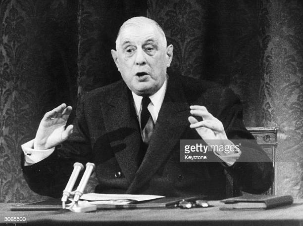 President Charles De Gaulle speaking at a press conference at the Elysee Palace in Paris