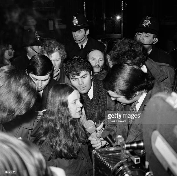 Bernadette Devlin, Independent Unity MP for Mid-Ulster and founder member of the People's Democracy Movement, talks to the press at the House of...
