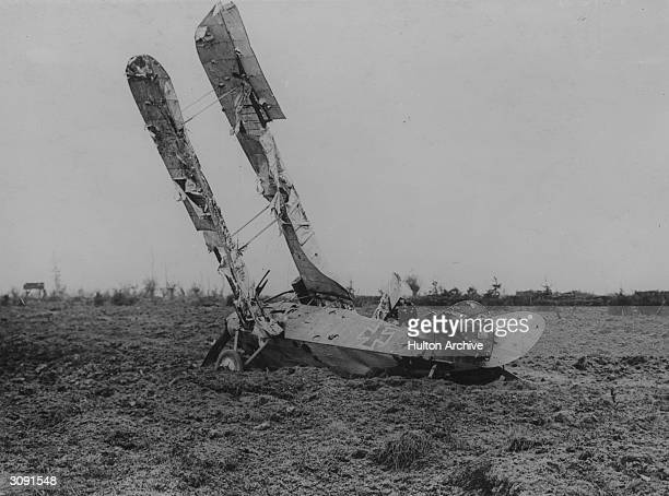 German two seater 'Fokker Wolf', shot down on the first day of the Battle of Pilckem Ridge.