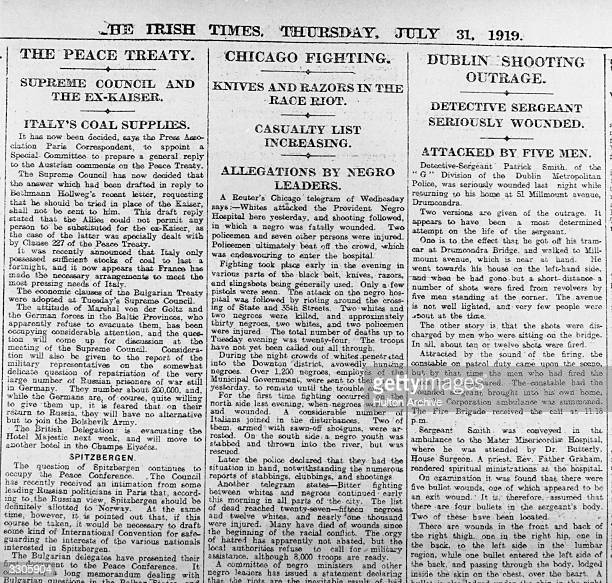 Report of the shooting of Detective Patrick Smith of the 'G' Division of the Dublin Metropolitan Police Original Publication The Irish Times pub 1919