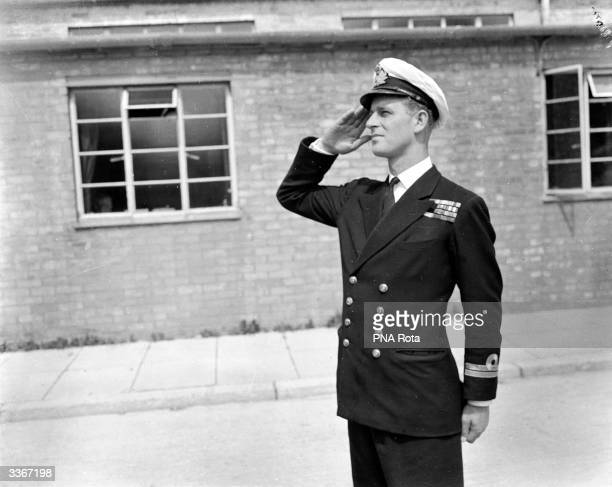 Lieutenant Philip Mountbatten, husband of Princess Elizabeth resumes his attendance at the Royal Naval Officers' School at Kingsmoor in Hawthorn,...