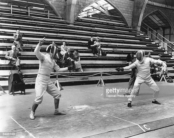 Olympic fencing foil eliminating contest at Wembley Giuliano Nostini fencing Lajos Maszlay Nostini won 54