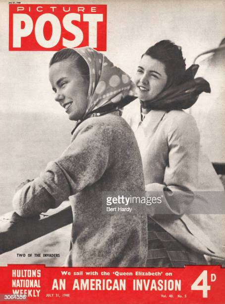Two American girls travel across the Atlantic to Europe on the Cunard White Star liner Queen Elizabeth The headline beneath reads 'We Sail with the...