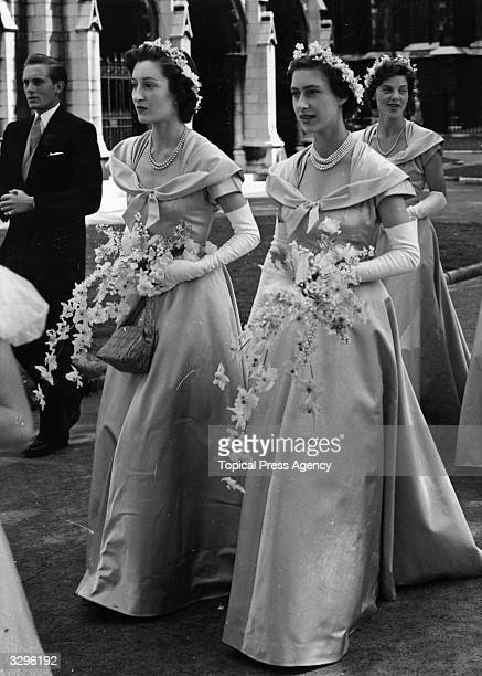 Princess Margaret Rose as a bridesmaid at the wedding of Margaret Elphinstone a niece of the Queen's and Denys Rhodes at St Margaret's Westminster...