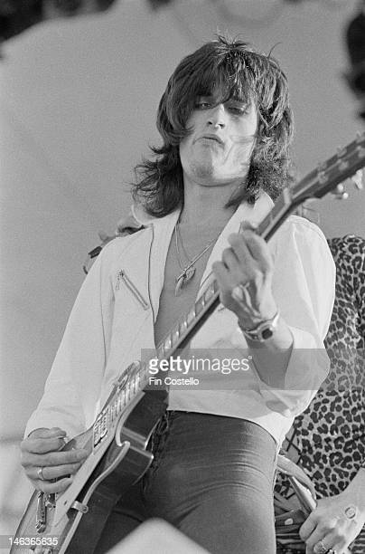 Joe Perry from American rock group Aerosmith performs live on stage at Eastwood Lake Park in Dayton Ohio USA on 31st July 1976