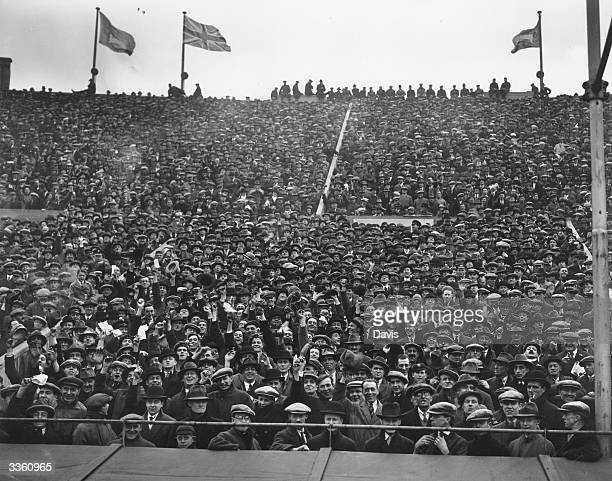 A section of the crowd at Wembley Stadium London to watch the international soccer match between Scotland and England Scotland won the game 5 1 in a...