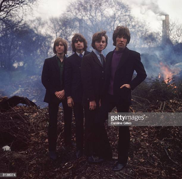 The four members of the British pop band Smoke Mick Rowley Mal Luker John 'Zeke' Lund and Geoff Gill Groomed for stardom by Alan Brush a gravel pit...