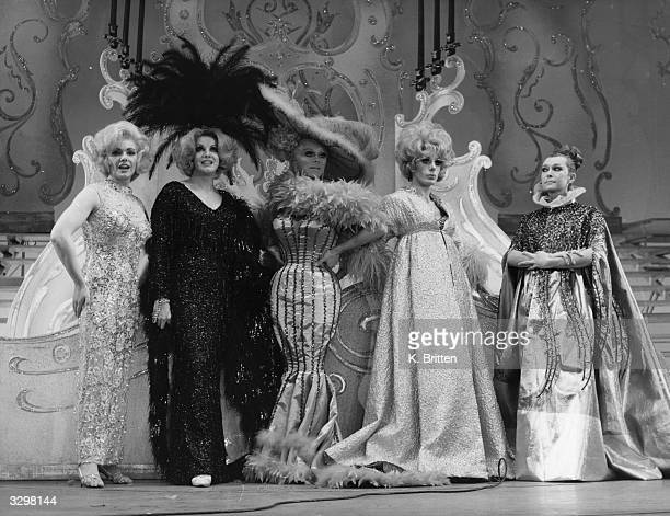 Leading drag artists Terry Durham Les Lee Ricky Renee Barry Scott and Laurence Daury performing in Paul Raymond's show 'Birds Of A Feather' at the...
