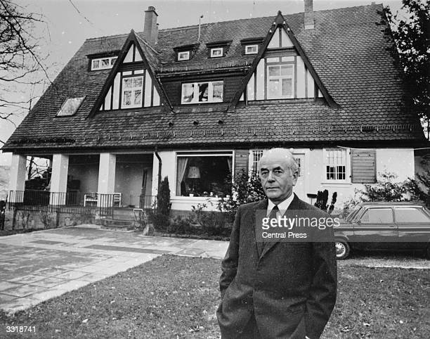 German architect and Nazi government official Albert Speer in front of his home at Heidelberg