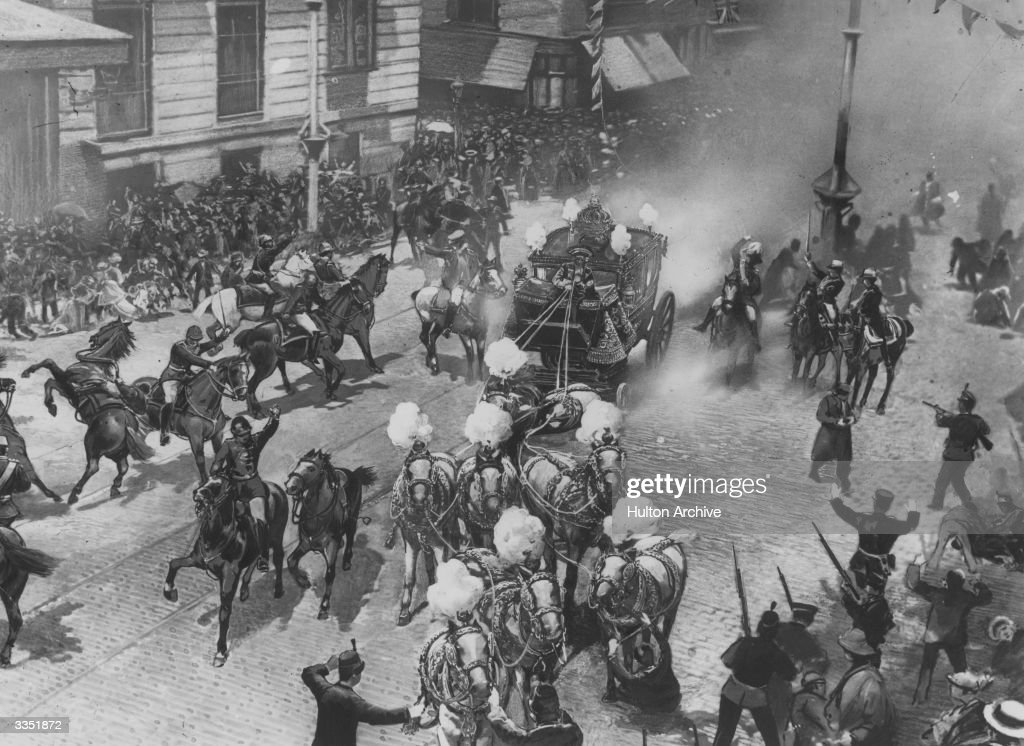 The attempted assassination by bomb explosion at Madrid on the wedding day of King Alfonso XIII and Princess Victoria Eugenie of Battenberg.