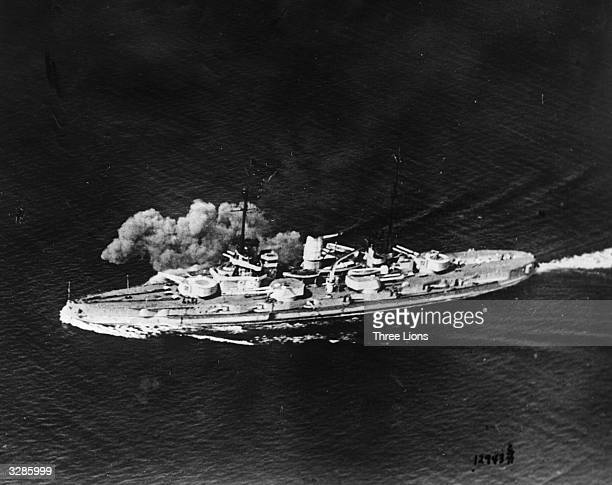 A German Nassau class battleship during the naval Battle of Jutland which was fought near the Skagerrak