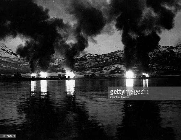 The Norwegian town of Narvik burns after an Allied bombardment
