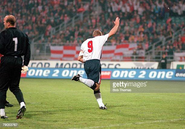 31st MAY 1997 World Cup Qualifier Chorzow Poland Poland 0 v England 2 England's Alan Shearer celebrates after scoring the first goal