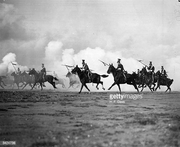 The Charge of the Light Brigade is reenacted near Aldershot in Hampshire for the British silent film 'Balaklava' , directed by Maurice Elvey and...
