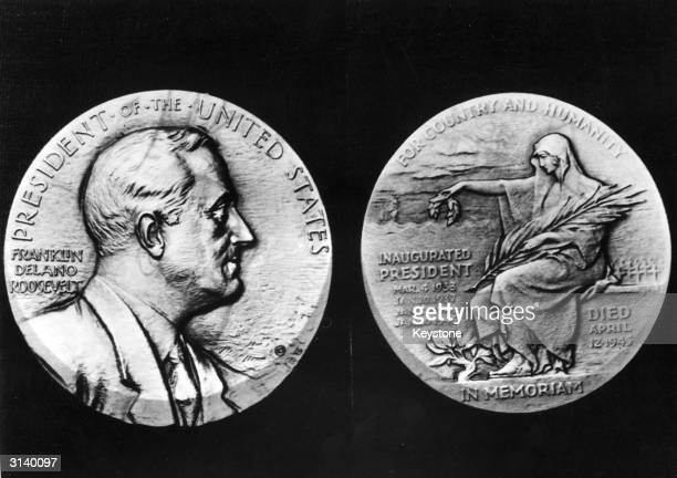 A reproduction of the Franklin Delano Roosevelt memorial medal engraved by John R Sinnock after his death The medal features a portrait of the late...