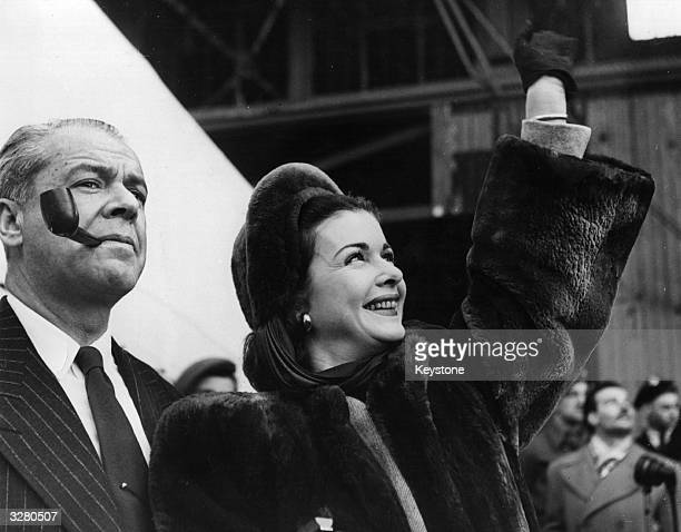 Actress Joan Bennett with her husband Walter Wanger on their arrival at Southampton