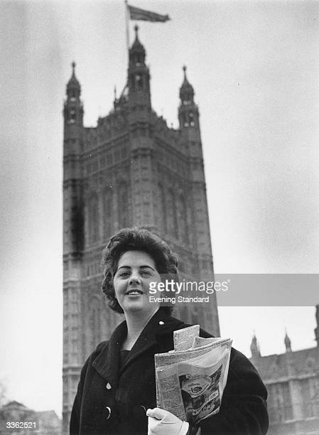 Labour candidate Betty Boothroyd outside the houses of Parliament Boothroyd an exTiller Girl later became the first woman Speaker of the House of...