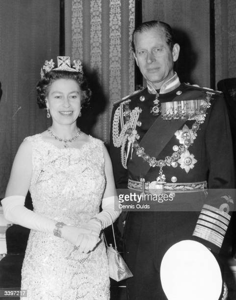 Queen Elizabeth II and Prince Philip Duke of Edinburgh during celebrations for their Silver Wedding anniversary
