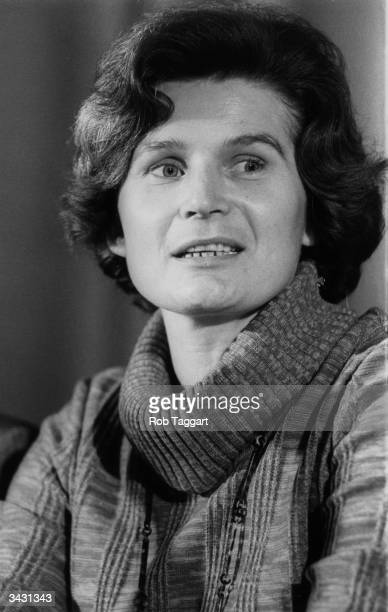 Former Russian cosmonaut and lecturer Valentina Nikolayeva Tereshkova attends a press conference at the Soviet Embassy in London during a tour of...